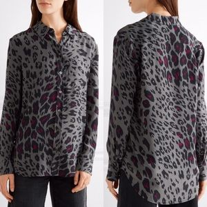 Equipment 100% Silk Leopard Gunmetal Blouse